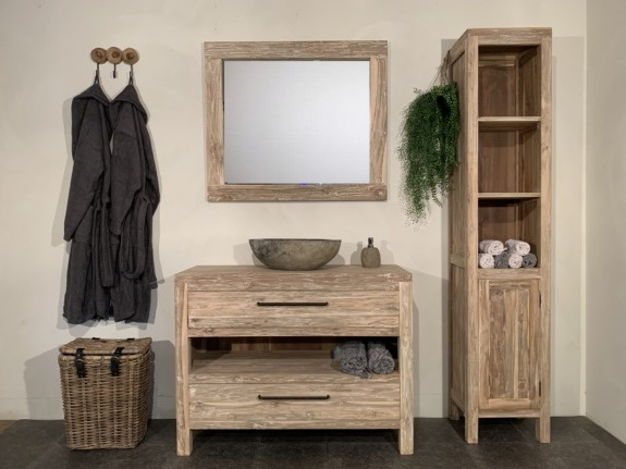 Houten badmeubel set 110cm White Wash incl  kast, spiegel & waskom