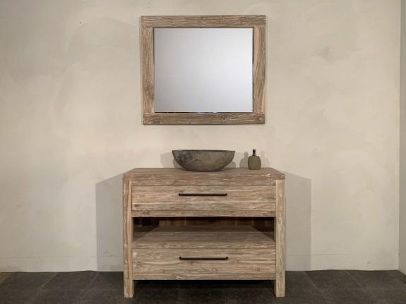 Teak badmeubelset 110cm White Wash incl  spiegel & waskom