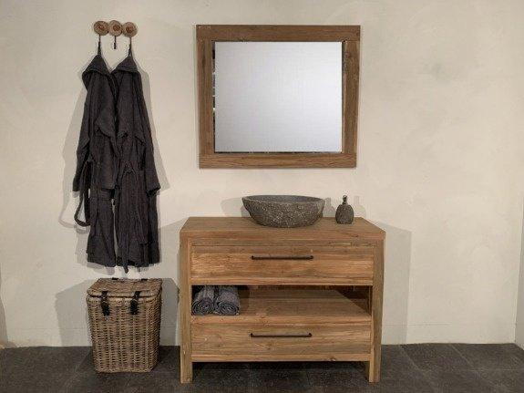 Teak badmeubelset 110cm Naturel incl  spiegel & waskom