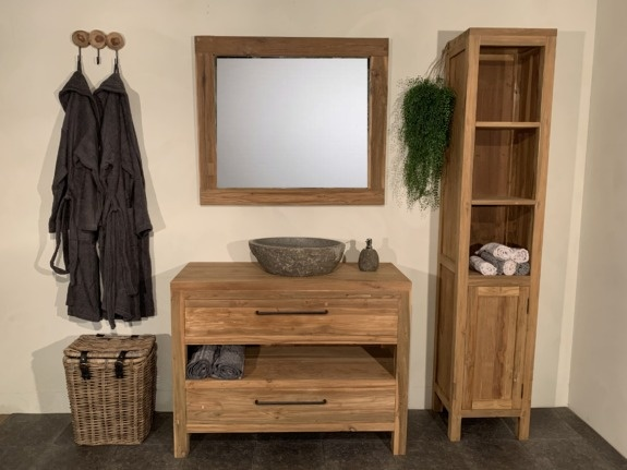 Teak badmeubelset 110cm Naturel incl  kast, spiegel & waskom