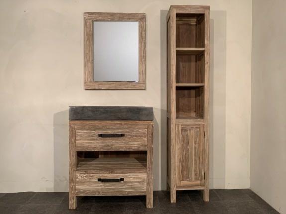 Badmeubel set 80cm white wash incl  kast, spiegel & wasbak