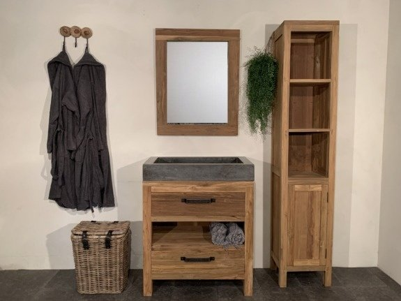 Houten badkamermeubel set 80cm Naturel incl  kast, spiegel & wasbak