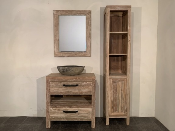 Badmeubel set 80cm White Wash incl  kast, spiegel & waskom