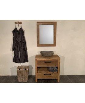 Houten badmeubel set 80cm Naturel incl  spiegel & waskom