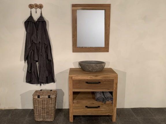 Houten badmeubelset 80cm Naturel incl  spiegel & waskom