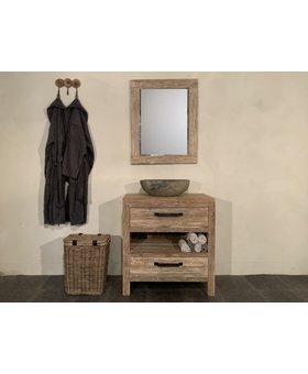 Teak badmeubel set 80cm White Wash incl  spiegel & waskom
