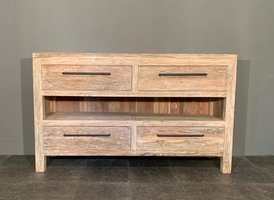 Badkamermeubel hout 140x45x85cm - White wash