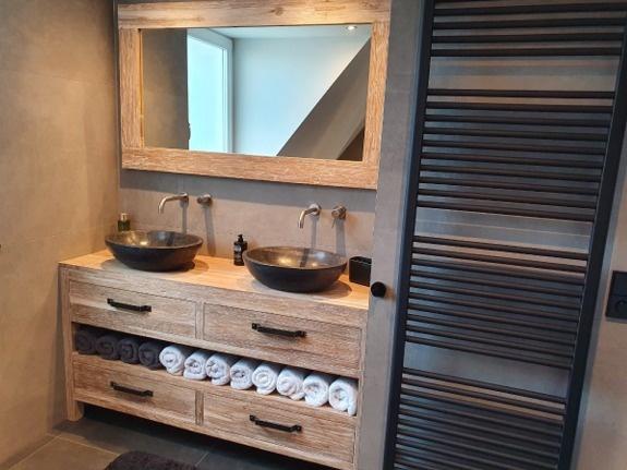 Badkamermeubelset 140cm incl  spiegel & waskommen  White Wash