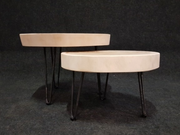 Salontafel op pinpoot +/- Ø50cm - hoogte 33cm