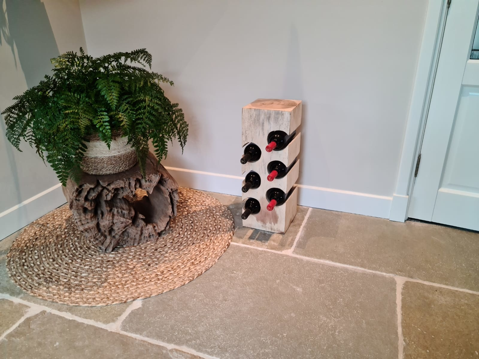 Houten wijnrek voor 6 flessen - rechthoek
