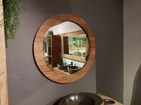 Spiegel rond 100x9cm Naturel - Teak