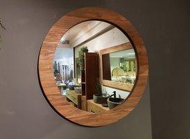 Spiegel rond 90x9cm Naturel - Teak
