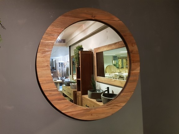 Spiegel rond 80x9cm Naturel - Teak