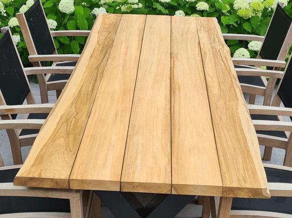 Teak boomstamtafelblad 95x240cm voor buiten