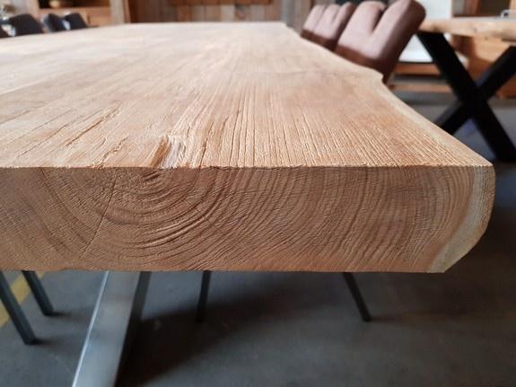 Teak boomstamtafel blad voor binnen 100x280cm