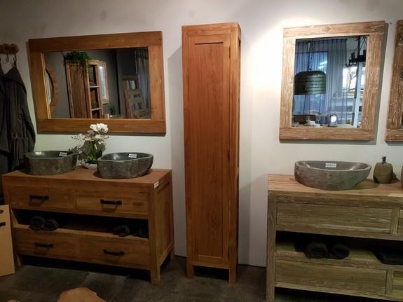 Badkamerkast 40x32x200cm - Naturel - 1 deur
