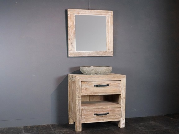 Badkamermeubel set 60cm white wash met spiegel en waskom