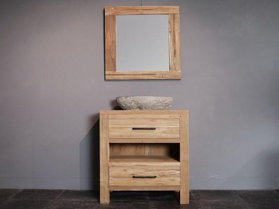 Badkamermeubel set 60cm naturel met spiegel en waskom