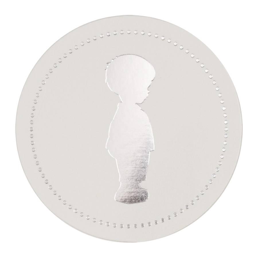 Buromac Pirouette Sluitzegels jongetje zilver per vel van 10 stuks