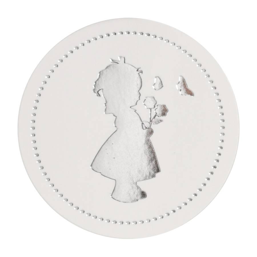 Buromac Pirouette Sluitzegels meisje zilver per vel van 10 stuks