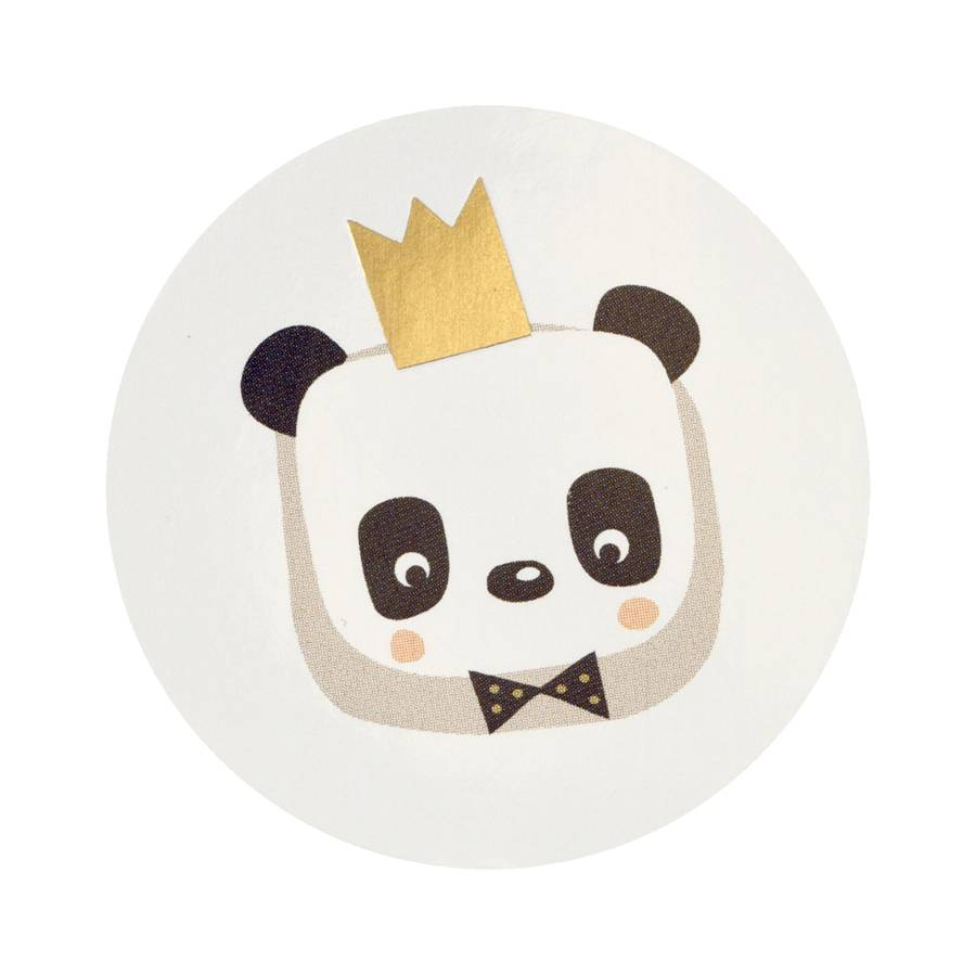 Buromac Pirouette Sluitzegels-Panda met kroontje van goud per vel van 10 stuks