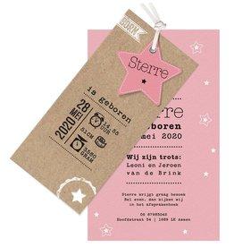Belarto Welcome Wonder Geboortekaart met sterren en stoer labeltje - roze