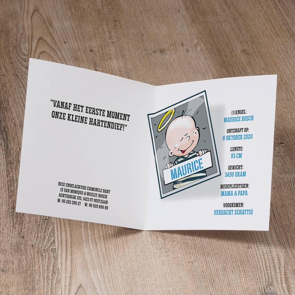 Belarto Welcome Wonder Geboortekaart met humoristisch babyboefje (717054)