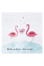 Belarto Welcome Wonder Geboortekaart met sierlijke flamingo's en hartje (717049)