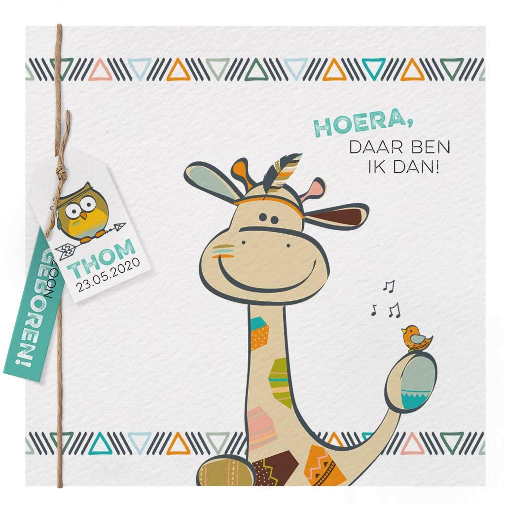 Belarto Welcome Wonder Geboortekaart met vrolijke giraf en labeltje (717048)