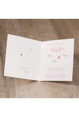 Belarto Welcome Wonder Geboortekaart met baby op de maan roze op geschept papier(717046R)