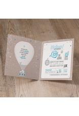 Belarto Welcome Wonder Geboortekaart met stoere luchtballon en blauw/wit touwtje (717044)