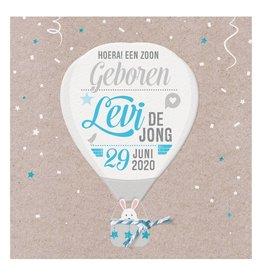 Belarto Welcome Wonder Geboortekaart met  luchtballon en blauw/wit touwtje