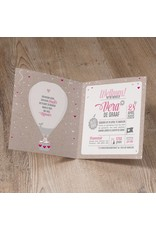 Belarto Welcome Wonder Geboortekaart met stoere luchtballon en roze/wit touwtje (717043)