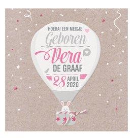 Belarto Welcome Wonder Geboortekaart met  luchtballon en roze/wit touwtje