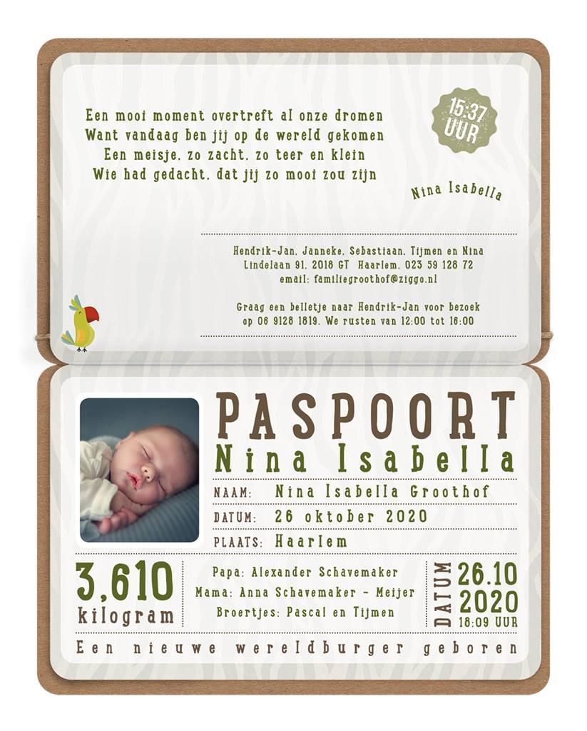 Belarto Welcome Wonder Geboortekaart als paspoort met diertjes en labeltje (717041)