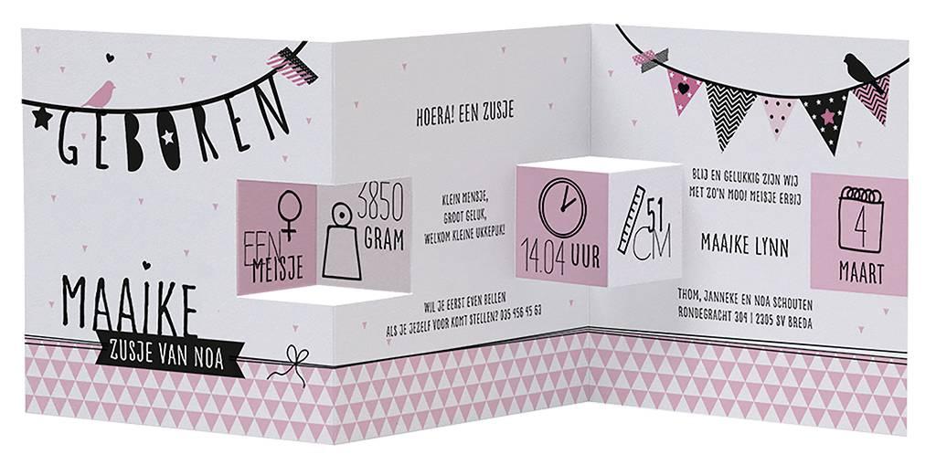 Belarto Welcome Wonder Geboortekaart in roze drieluik met zwarte illustraties (717008)