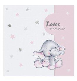Belarto Welcome Wonder Geboortekaart met olifantje onder zilveren sterren