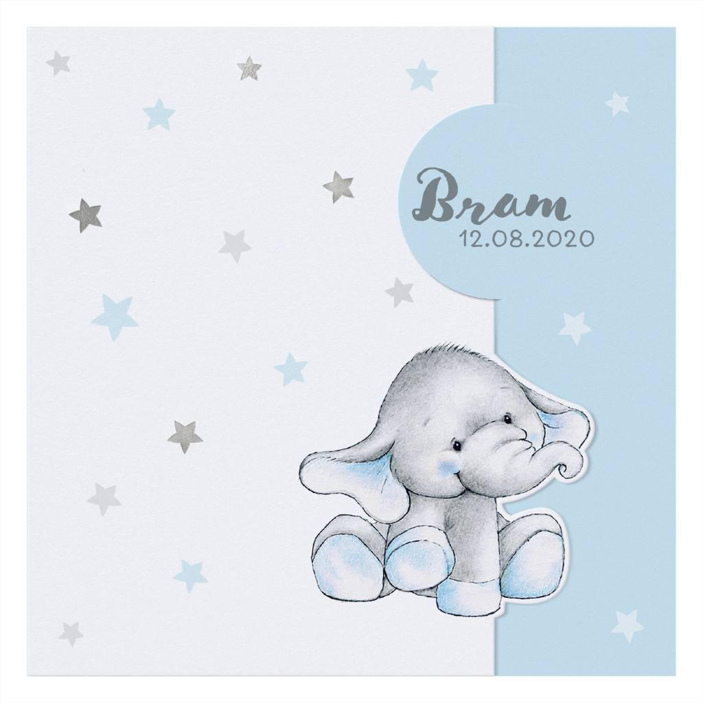 Belarto Welcome Wonder Geboortekaart met olifantje onder zilveren sterren (717011)