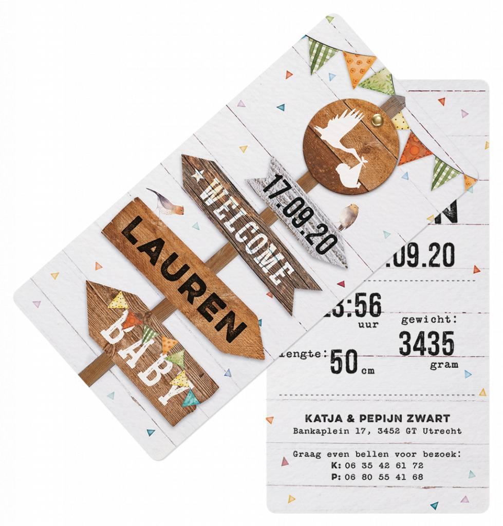 Belarto Welcome Wonder Geboortekaart met wegwijzers,  splitpen en labels (717027)