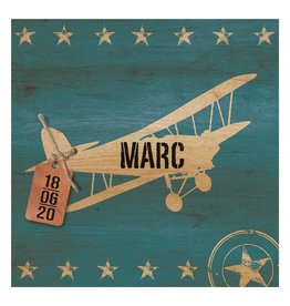 Belarto Welcome Wonder Geboortekaart met retro vliegtuig en stoer labeltje