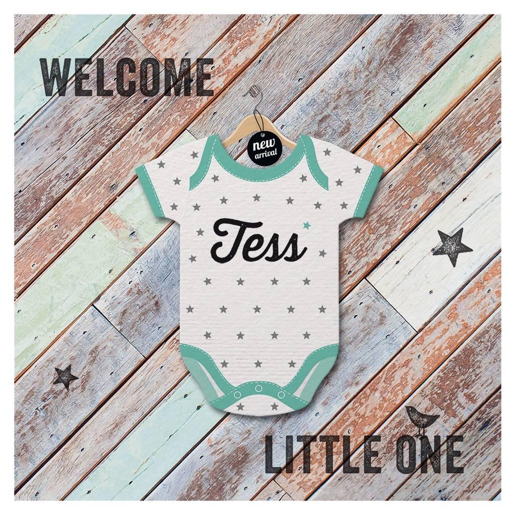 Belarto Welcome Wonder Geboortekaart met verschillende stoere rompertjes (717037)