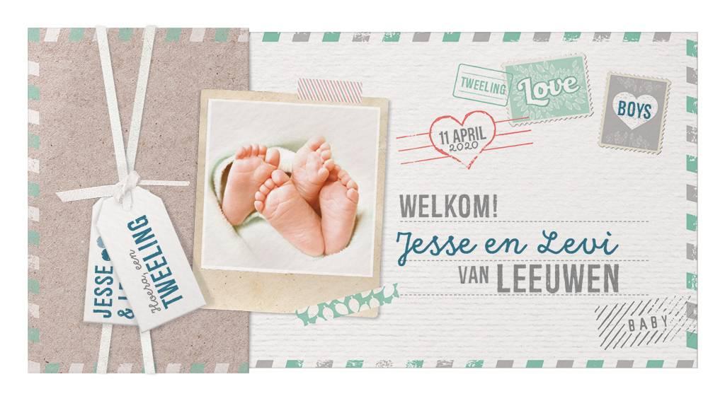 Belarto Welcome Wonder Geboortekaart in hoesje met labels en (eigen) foto (717025)
