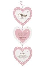 Belarto Welcome Wonder Geboortekaart met lief hangertje van 3 hartjes met roze/wit touwtje (717019)