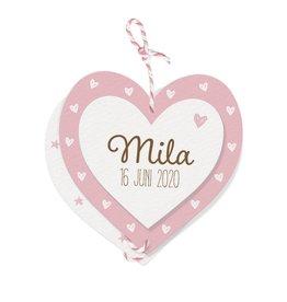 Belarto Welcome Wonder Geboortekaart met lief hangertje van 3 hartjes met roze/wit touwtje