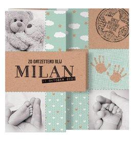 Belarto Welcome Wonder Geboortekaart met uitvouwkaart in kraftlook - mint