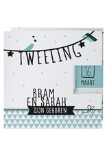 Belarto Welcome Wonder Geboortekaart in drieluik met zwarte - mint illustraties (717007)