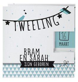 Belarto Welcome Wonder Geboortekaart in drieluik met zwarte - mint illustraties