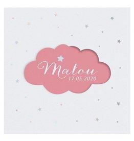 Belarto Welcome Wonder Geboortekaart met schattig draaiwolkje - roze