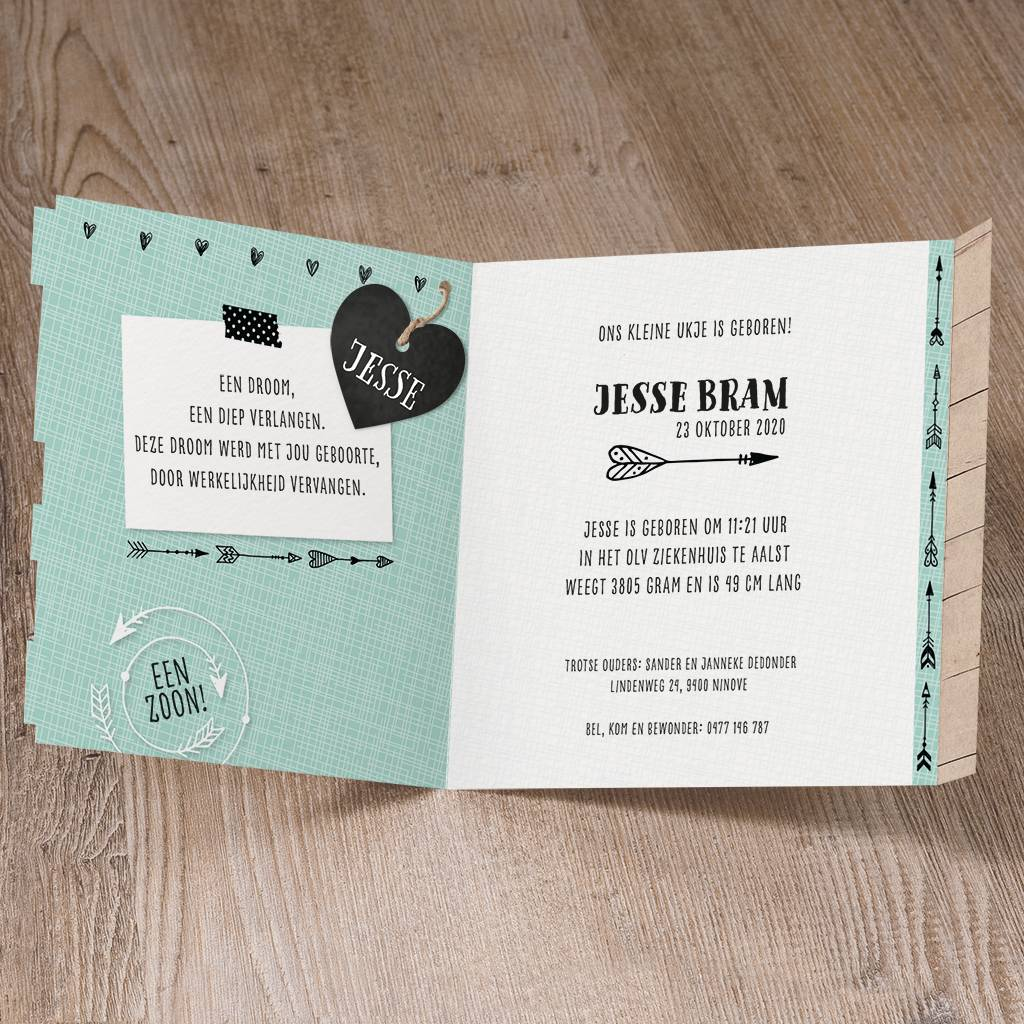 Belarto Welcome Wonder Geboortekaart met steigerhout en stoer label (717001)