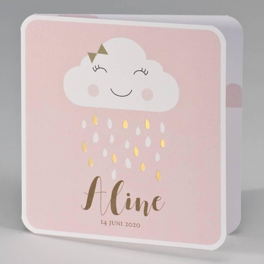 Buromac Baby Folly 2019 Geboortekaart met vrolijk wolkje met gouden regendruppels - roze (507027)